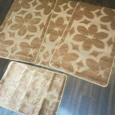 ROMANY GYPSY WASHABLE SETS OF TOURER SIZE 67X110CM MATS/RUGS NEW FLOWER BROWN